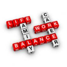 work-life balance, family, career, word tiles